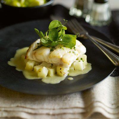 Heston's Pan-seared cod with leek and potato sauce