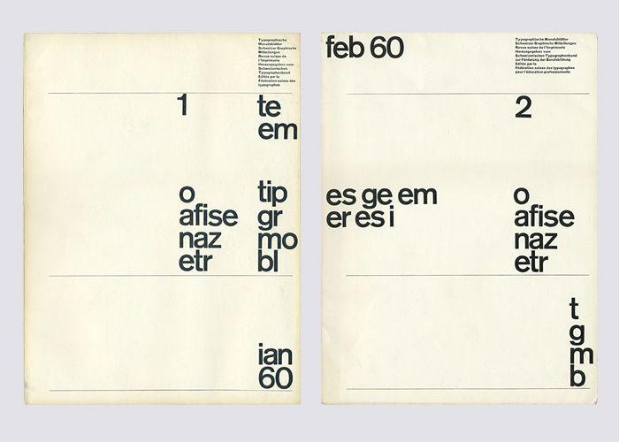 Yves Zimmermann (1937, Basel) for Typographische Monatsblätter Januar 1960. Zimmermann designet en serie på 7 forsider, men bare de to første ble brukt – designet var regnet for å være for ukonvensjonelt.