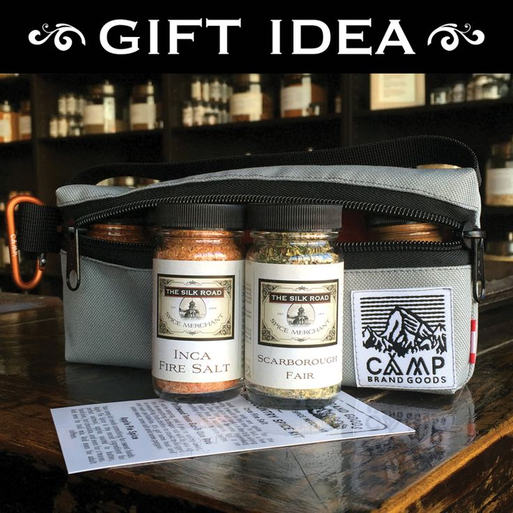 Our Back Country Spice Kits are the perfect gift for all of you who love to cook and love to camp! Inca Fire Salt, Driftwood Texas BBQ Rub, Apple Pie Spice, Bow River Fish Blend & Scarborough Fair come packaged in a water-resistant canvas bag. The entire kit is made right here in Calgary.