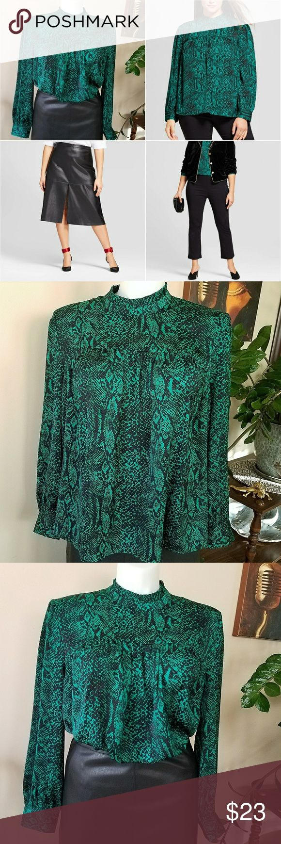 Silky Emerald Green Blouse   Who What Wear   2X