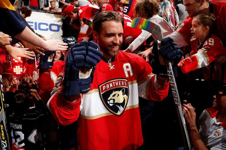 Panther pride:   Aaron Ekblad of the Florida Panthers prepares to take the ice with his hockey stick wrapped in Pride tape before the start of the game against the Anaheim Ducks in Sunrise, Fla., on Feb. 3,