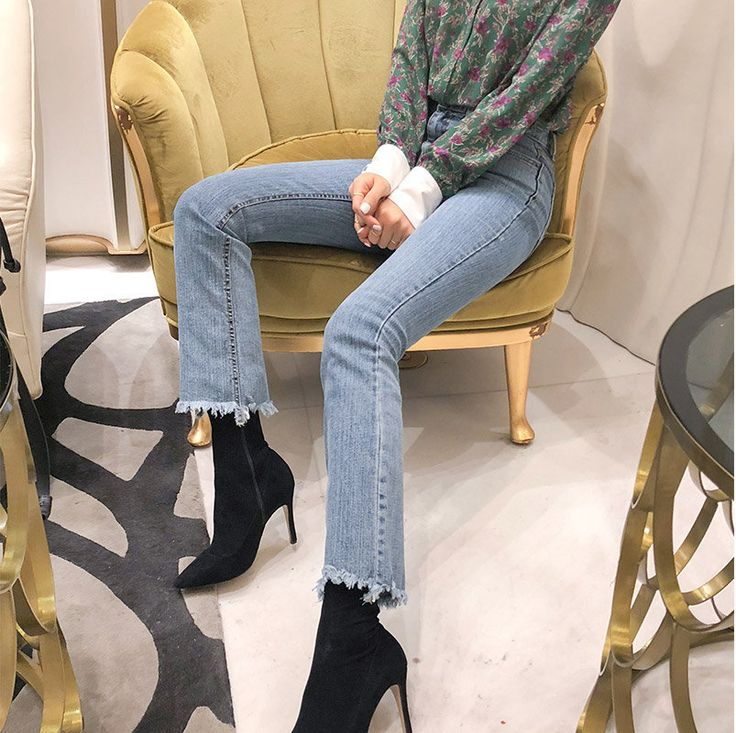 Buy chuu Fringe-Hem Washed Straight-Cut Jeans at YesStyle.com! Quality products at remarkable prices. FREE Worldwide Shipping available!