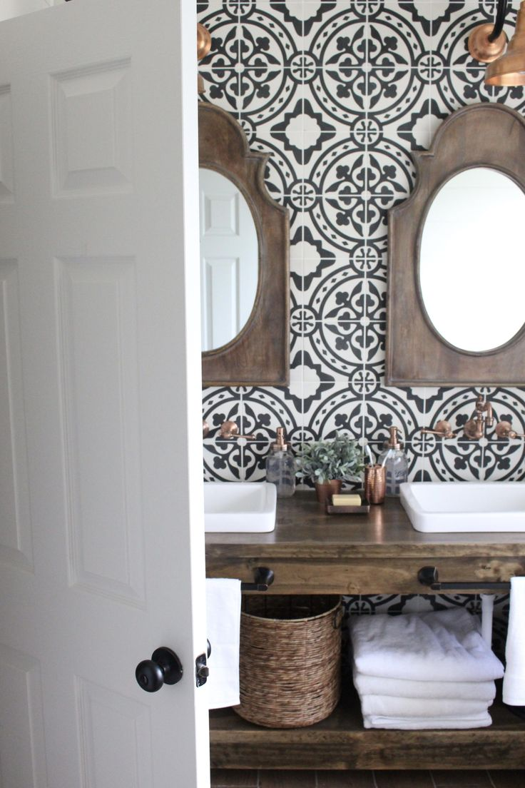 farmhouse style bathroom with cement tiles