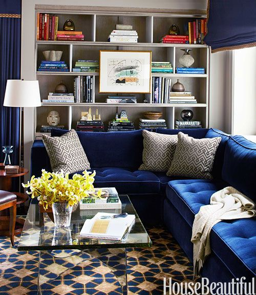Blue Velvet Sofa, Gray Shelves.  Living Room.