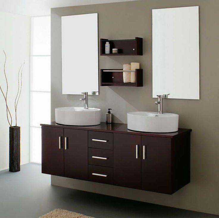 Some Helps in Hanging a Bathroom Mirror : Astounding Minimalist Hanging A Bathroom Mirror Frameless With Decorative Leaves On Vase Also Wall Mounted Vanity Sink