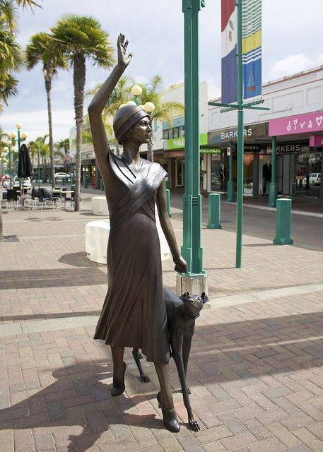 New Zealand - Art Deco woman & greyhound