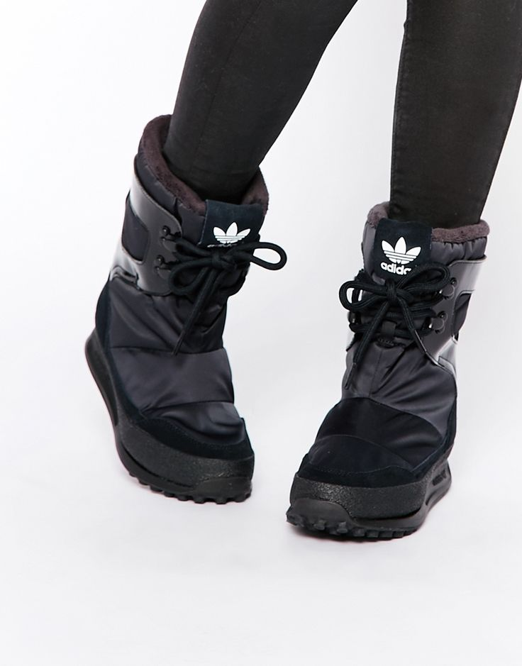 Image 1 of adidas Originals Snowrush Black Snow Boots
