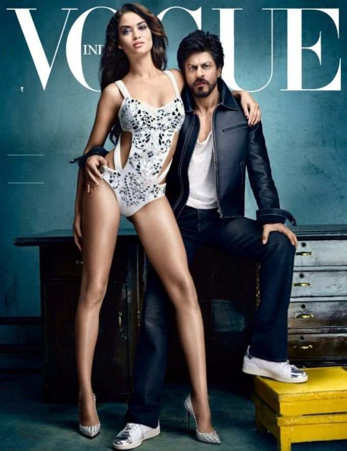 ShahRukh Khan with Shanina Shaik on the cover of Vogue November 2015