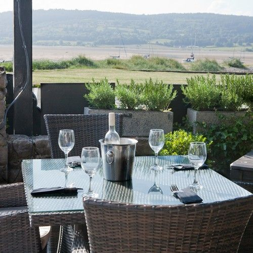 The view of Red Wharf bay from the outside seating area