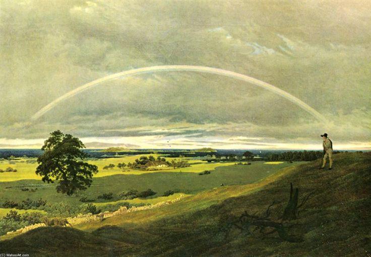 Landschaft mit Regenbogen, öl auf leinwand von Caspar David Friedrich (1774-1840, Germany). Diese Gemälde ist seit 1945 vermisst... Weiß jemand wo es sich befinden kann?