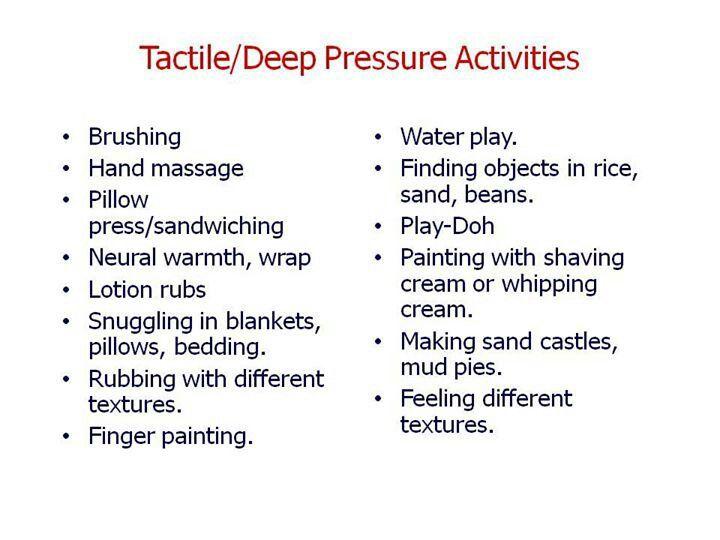 Deep pressure activities