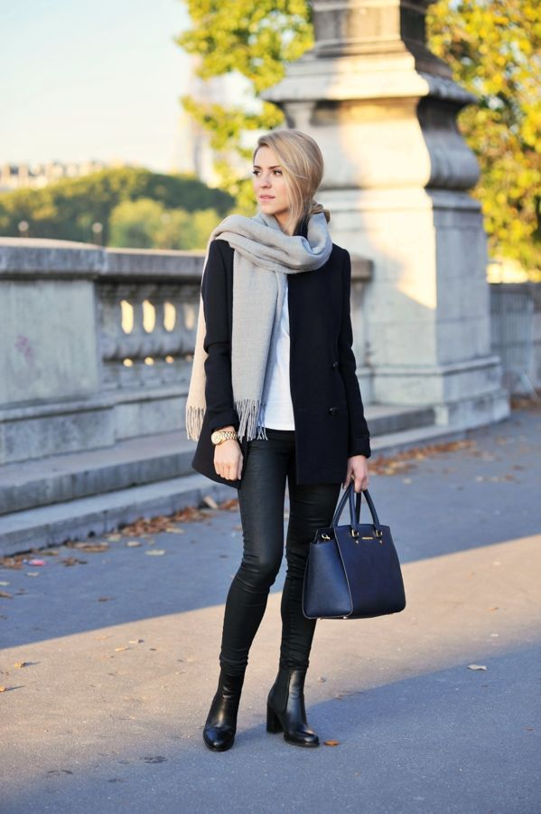 cozy scarf + black jacket + boots