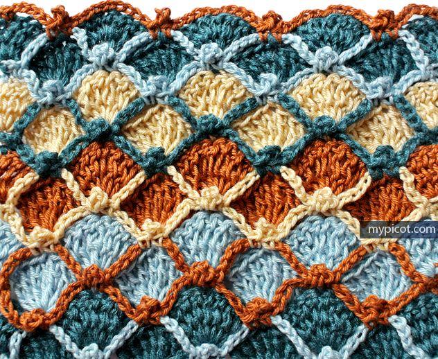 Multicolored Fish scale crochet stitch MyPicot | Free crochet patterns