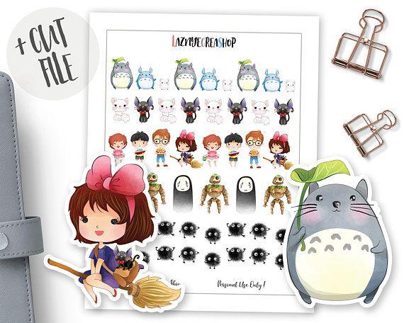 Printable Ghibli Stickers Totoro Stickers Kiki Stickers Manga Stickers Anime Stickers Kawaii Cute Chibi Planner Bullet Journal Totoro Planner Stickers