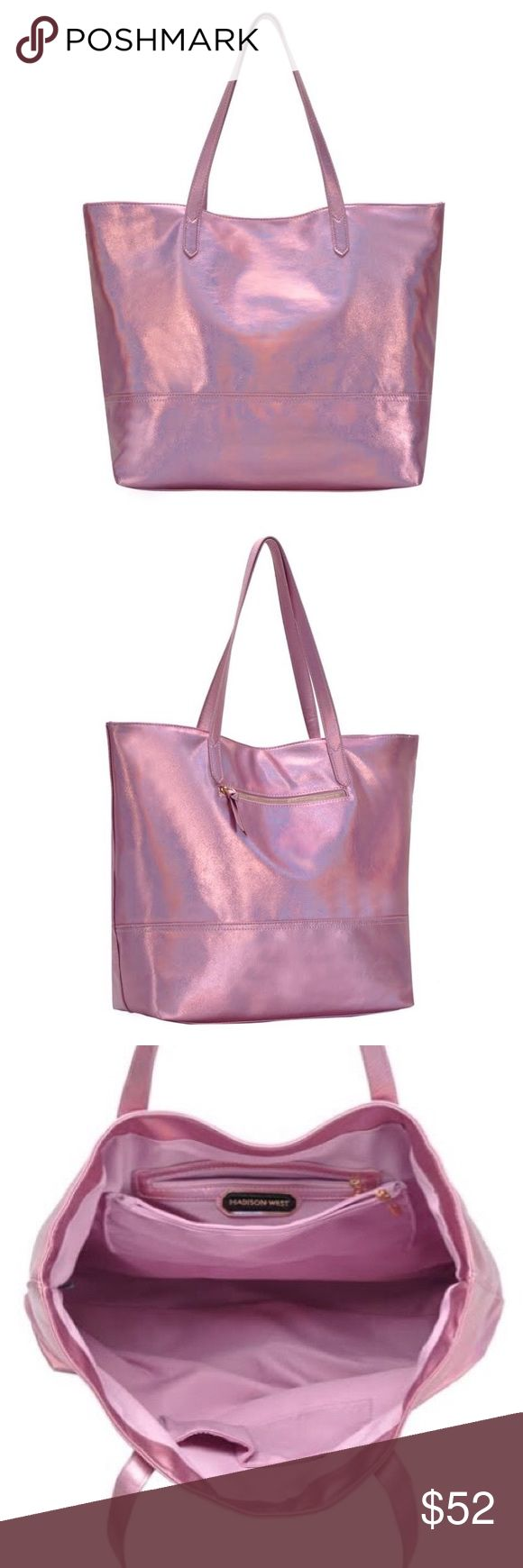 """Street Level Metallic Tote Details & Care A chic, slouchy tote in soft metallic vegan leather, the Street Level Tote makes the perfect companion. Both roomy and sturdy, it's ideal for carrying laptops, gym kit, baby paraphernalia – and more.   It makes a fantastic gift for a best friend or sister, who likes to carry their everyday essentials around in style.   Item Overview * Primary color: Pink * Materials: Vegan Leather * Handle Drop: 12"""" (Dual Top Handles) * Measurements: 19""""L, 14.75""""H…"""