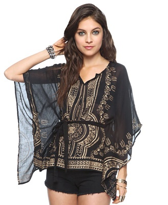 $24.80 - Forever21 - Make a statement in this trapeze top featuring an intricate metallic print and a V-neckline. 3/4 batwing sleeves. Self-tie waistline. Finished hem. Unlined. Semi-sheer. Woven. Lightweight.
