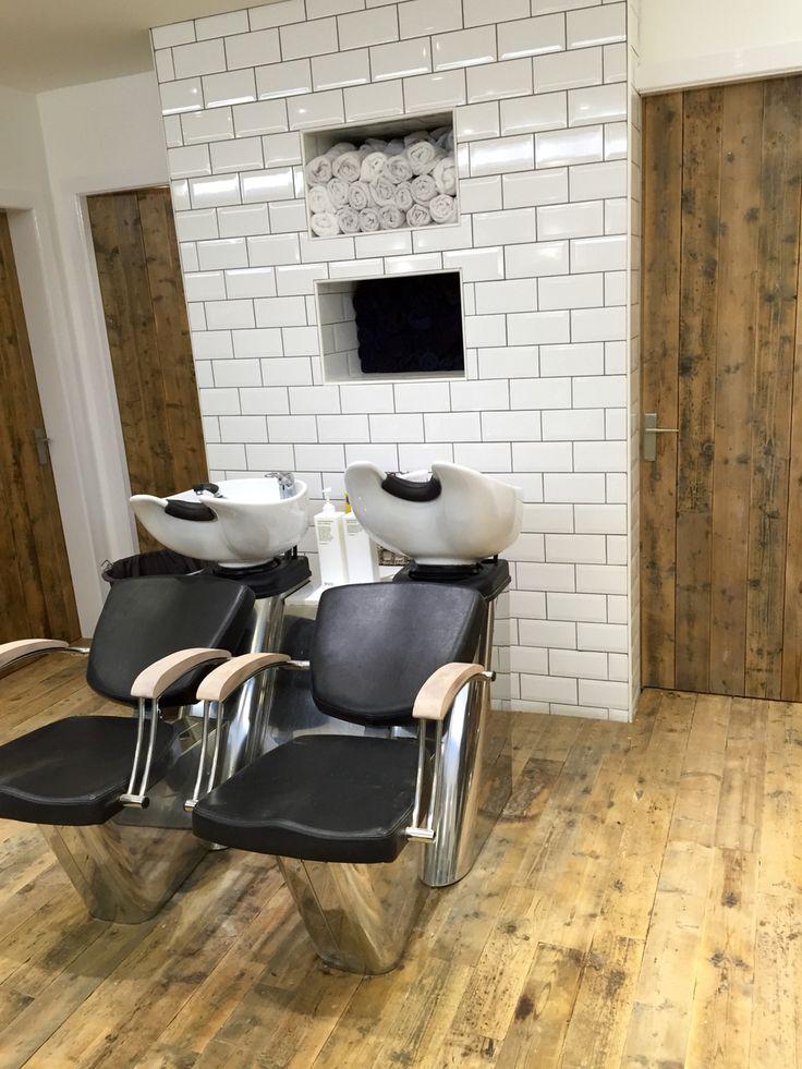 Salon interior design. Brick tiles at the back wash. Reclaimed wood. Eco salon. Barber Edinburgh.