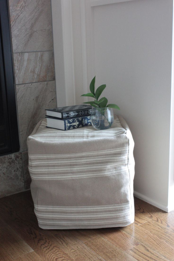 Tan White Ticking Farmhouse Pouf/Ottoman/Foot Stool Cover, 16 Inch Cube, French Country Ottoman, Neutral Nursery Ottoman, Grain Sack Style by EclecticHomeMarket on Etsy https://www.etsy.com/listing/521212177/tan-white-ticking-farmhouse