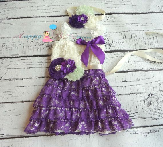 I love this with either the flower belt or the bow but not both and it comes in other colors @forevadreami Ivory Mint Purple dress set Flower girls dress by HappyBOWtique, $64.99