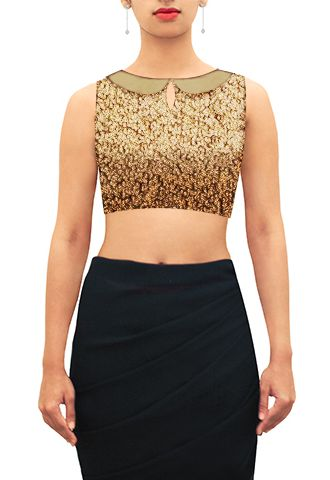 Gold sequin satin peterpan collar blouse