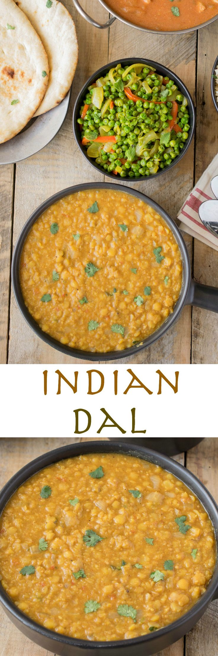 Indian dal is an easy and very flavorful side dish made from split peas or lentils, tomato, jalapeño and lots of spices.