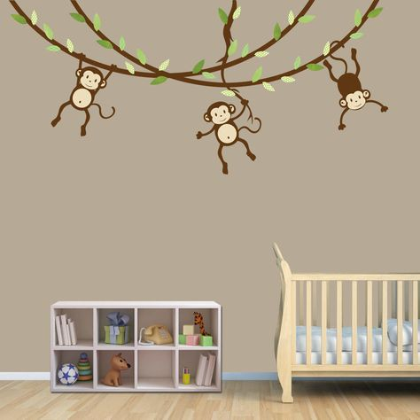 Hanging Monkey Wall Decal Vines Nursery Decals Boy Monkeys Kids Room Celadon Design 58 00 Via Etsy