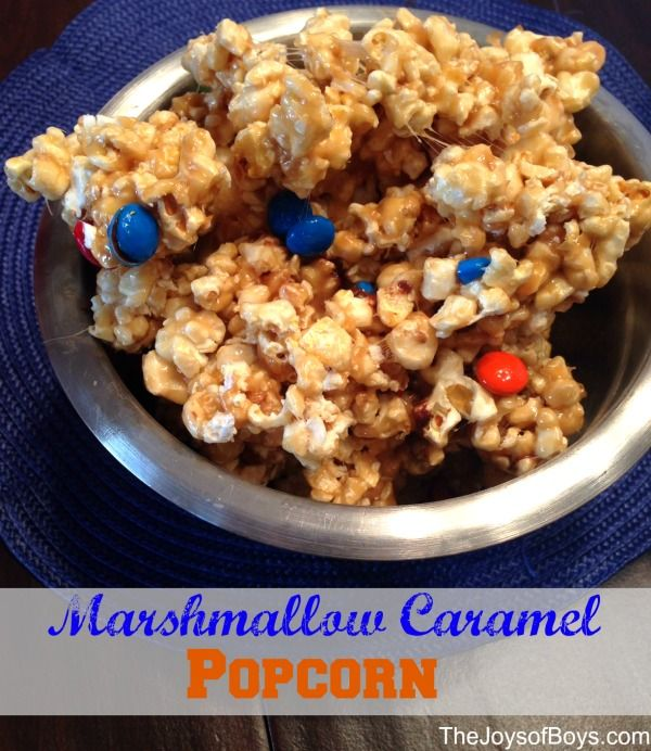 SOFT Caramel popcorn!  I love Caramel popcorn but I it has to be soft and not too sticky.  This marshmallow Caramel Popcorn recipe is the best.