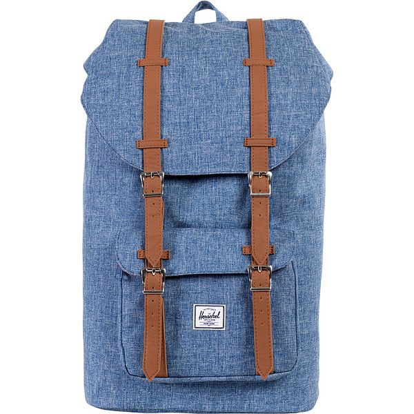 Herschel Supply Co. Little America Laptop Backpack ($75) ❤ liked on Polyvore featuring bags, backpacks, blue, laptop backpacks, laptop bags, laptop backpack, padded backpack, blue bag and padded laptop bag