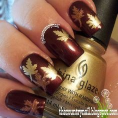 Fall and Autumn Nail Art Design - Golden Leaves
