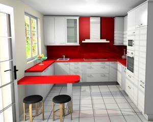 idea de cocina blanca y roja con zocalo en gris