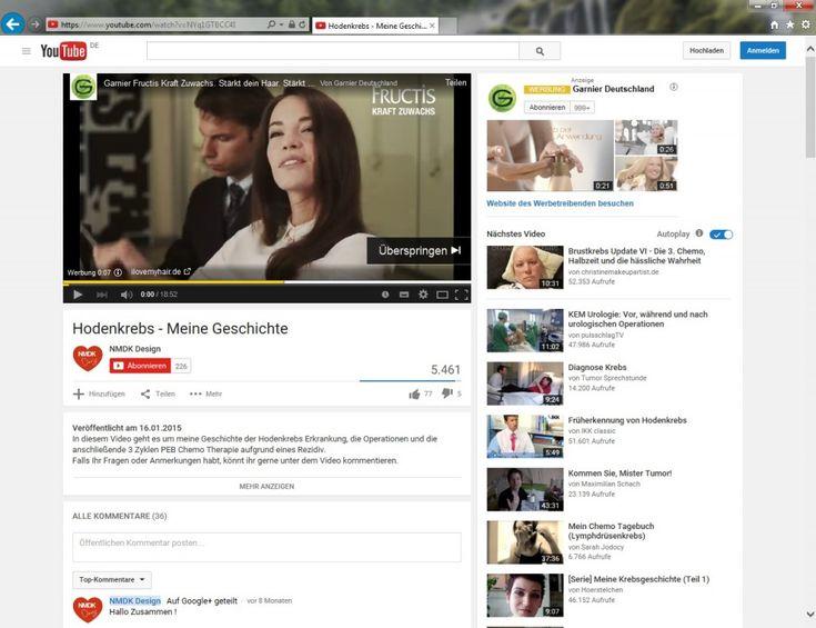 """Es ist ja nichts ungewöhnlich, dass auf Youtube, bevor der eigentliche Videoclip beginnt, Werbung eingeblendet wird – so wie hier die Werbung von Garnier für das Haarpflegeprodukt Fructis Kraft Zuwachs… Das es aber – wahrscheinlich automatisch zugesteuert – bei diesem Video zum Thema """"Hodenkrebs"""" passiert, lässt dann doch stutzen…"""