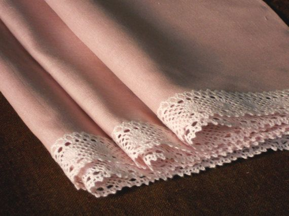 Dusty pink towels with lace old rose color linen guest towels set of three feminine gift for women