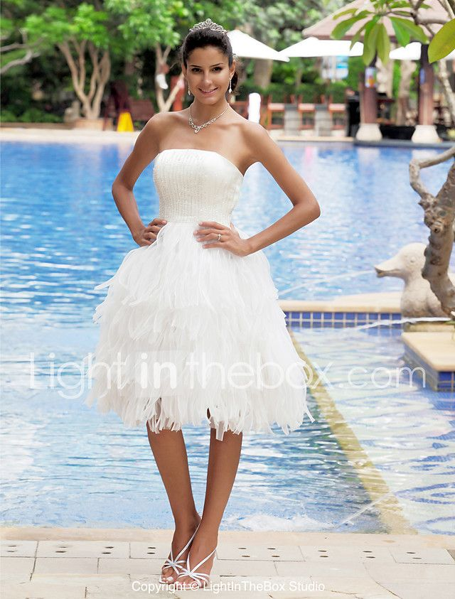 LAN TING BRIDE A-line Wedding Dress - Classic & Timeless Chic & Modern Reception Little White Dress Knee-length Strapless Organza Satin 2017 - $99.99
