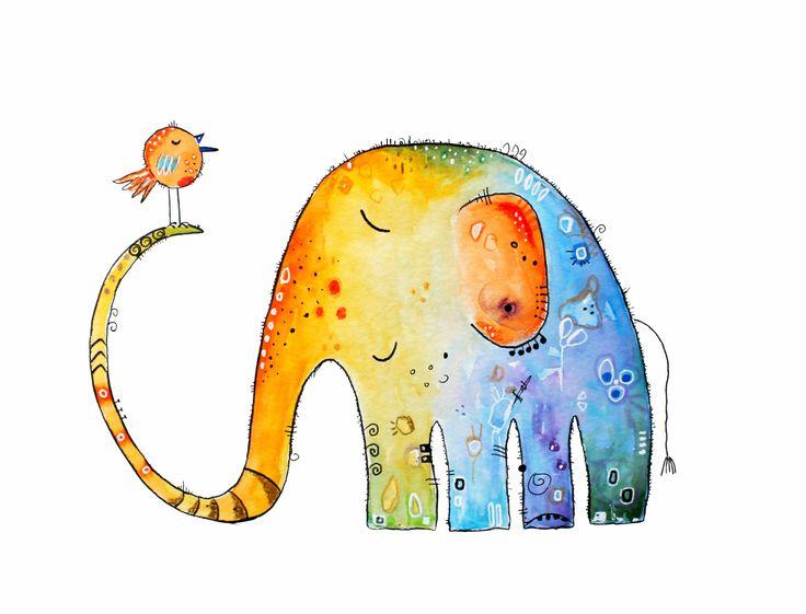 Enjoy life! #Genieße das Leben!  #Elefant #Kunst #Aquarell von Clarissa Hagenmeyer - www.clarissa-hagenmeyer.de