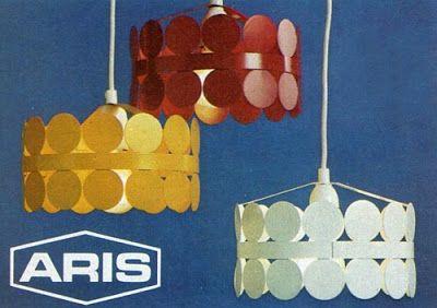 ARIS pendant lamps (enameled metal), 1970's.