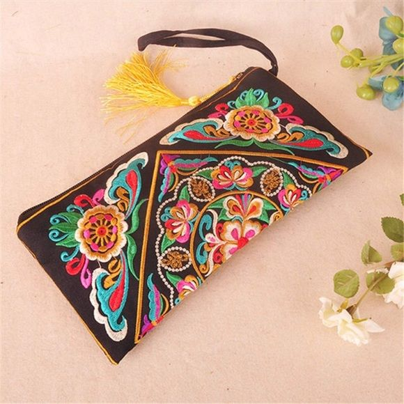 Tassel Boho Hippie Flower Embroidered Clutch Pouch COMING SOON! ... Boho Hippie Colorful Tassel Flower Embroidered Black Clutch Pouch Purse Bag  Bags Clutches & Wristlets