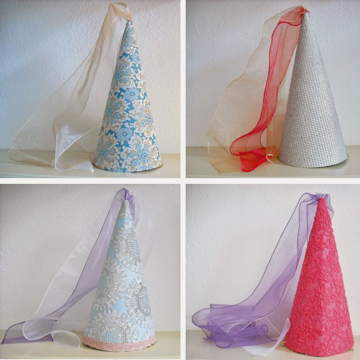 diy for kids, dress up: i made these princess cones with cardboard and glued fabric,