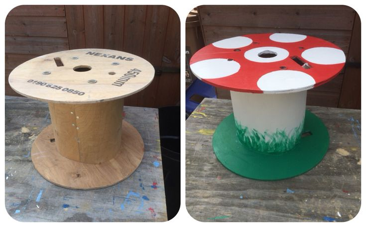 My fab caretaker made this cable reel toadstool for my EYFS outdoor area today. Isn't it fab?