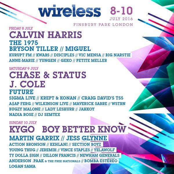 Calvin Harris, Chase & Status, J.Cole. Kygo and Boy Better Know are set to headline Wireless 2016 when the festival touches down at Finsbury Park for its...