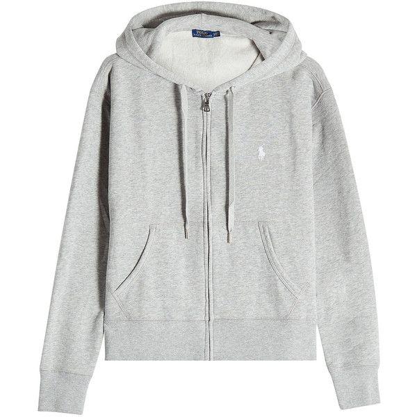 Polo Ralph Lauren Zipped Hoodie (€119) ❤ liked on Polyvore featuring tops, hoodies, jackets, grey, hooded sweatshirt, cotton hoodies, gray zip hoodie, grey hooded sweatshirt and polo ralph lauren hoodie