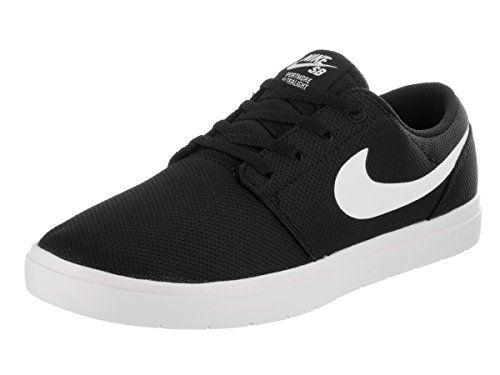 Nike Kids Portmore II Ultralight GS BlackWhite Skate Shoe 6 Kids US --  Check out