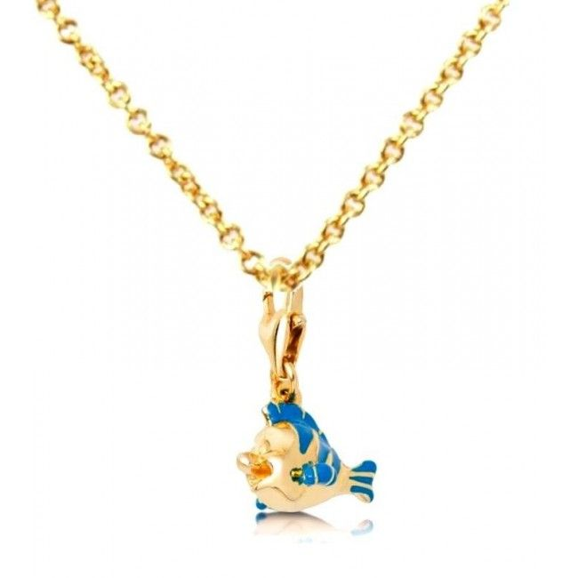 Disney Couture Gold-Plated Little Mermaid Ariel Flounder Charm Necklace