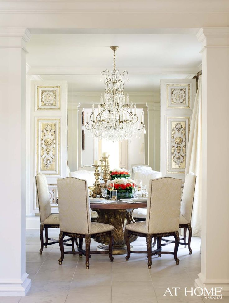 Gold And White Dining Room