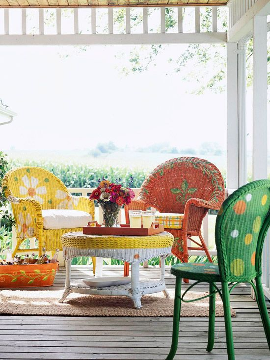 Paint your boring white wicker chairs and have fun with this idea: Ideas, Paintings Wicker, Colors, Outdoor, Wicker Furniture, Painted Wicker, Porches, Paintings Chairs, Wicker Chairs