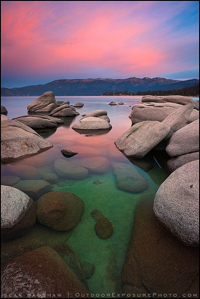 ~~Emerald Water Molten Sky by Sean Bagshaw ~ Lake Tahoe, Nevada~~