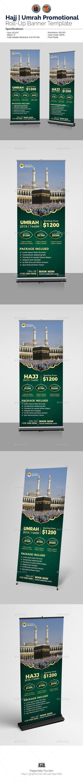 Hajj Promotional Roll-Up Template for $7 #designresource #SignageTemplates #adve...