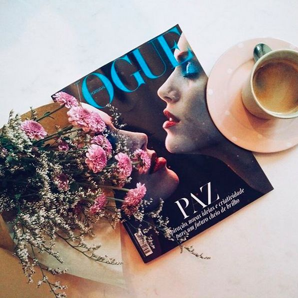 Fresh flowers, coffee and Vogue