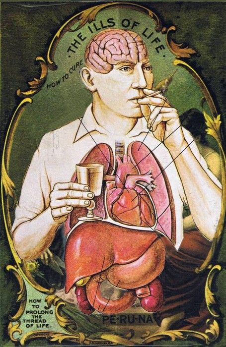 """""""Avec quoi soigner les maladies de la vie : avec l'absinthe et la cigarette""""  OU la pub était déjà mensongère ! / Old advert for Absinth and cigarettes."""