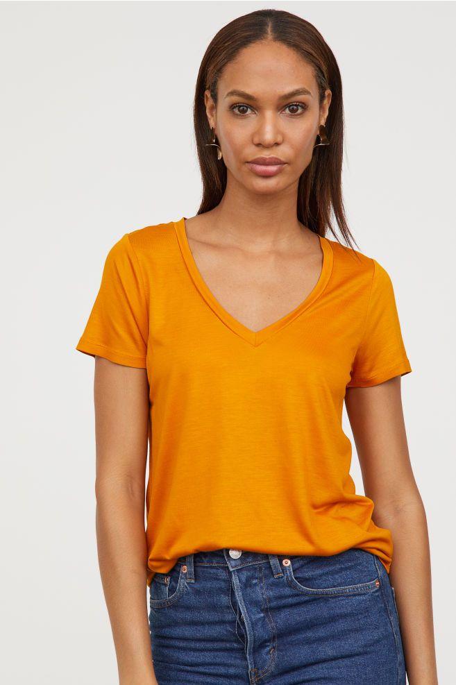 02b94285 V-neck T-shirt   Adult Clothes   V neck t shirt, V neck, Yellow t shirt
