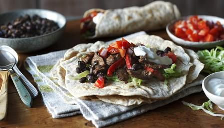 Low-fat beef and bean burrito with lime yoghurt